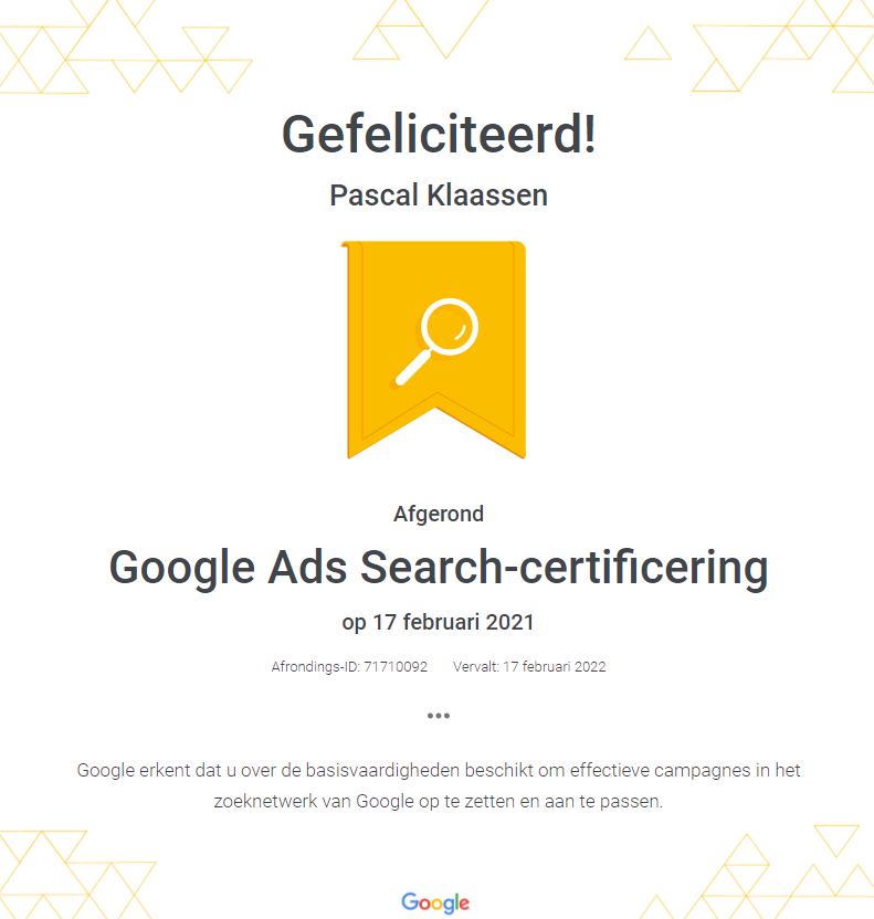 Google Ads Search Certificering